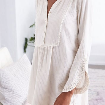 Aerie Ruffle Shirt Dress, Natural White