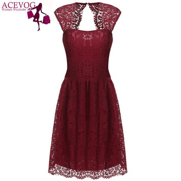 ACEVOG Women 2017-2017 summer lace dress for women casual elegant high waist Black 5 color S/M/L/XL/XXL sexy vestidos