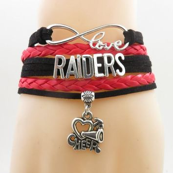 infinity love raiders bracelet cheer charm handmade raiders football gifts red leather bracelets & bangles for women and men