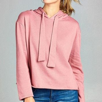 Ladies fashion long dolman sleeve drawstring hoodie cut out hem french terry top