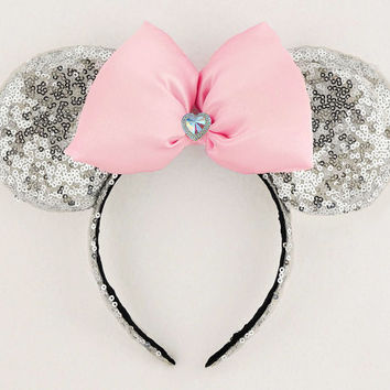 Minnie Mouse Ears Sequin Minnie Mouse Headband Pink Minnie Ears Silver Sequin Minnie Ears Minnie Bow Sequin Disney Ears Mickey Mouse Ears