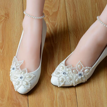 High Quality White Lace Pearls Women Wedding Shoes With Ribbons Lace Up Ladies Party/Dress Shoes Pointed Toes Size EU34-40