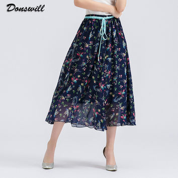 2016 New Bohemian Style Skirts Womens Large Size Maxi Skirt 14 Colors Selected Long Skirt Fashion Print DW062