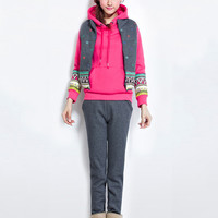 Tribal Accent Print Hooded Long Sleeve Jacket Suit