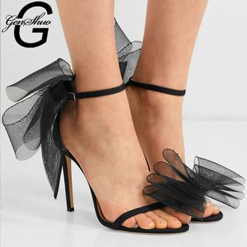 9a30e31931 GENSHUO Satin Shoes Woman Sweet Big Bow Knot Elegant Ankle Strap