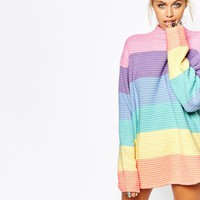 UNIF Oversized Jumper In Pastel Rainbow Colour Block