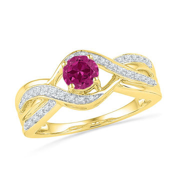 10kt Yellow Gold Womens Round Lab-Created Pink Sapphire Solitaire Diamond Twist Ring 1/10 Cttw 101225