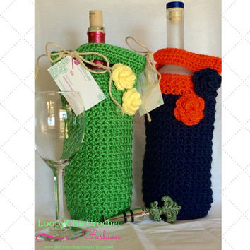 Wine Bottle Cozy, Cozies, Hostess Gifts, Hostess Gift, Hostess, Wedding Hostess Gifts, Bridal Shower Hostess Gifts, Auburn Tigers, War Eagle