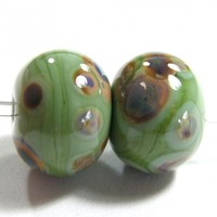 Opaque Moss Green Handmade Lampwork Glass Beads With Raku Frit fb853 Shiny (Choices of Etched, .999 Fine Silver, Shapes, Sizes, Large Hole Beads Extra)