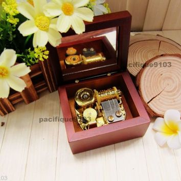 Wooden Windup Hurdy Sankyo Monkey Music Box Phantom of the Opera Masquerade