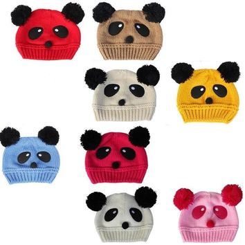 Panda Knitted Baby Girls Hats for Bebes Wool Newborn Cap Kids winter hat Boys Beanie Child Bucket Hat Bonet Knitting