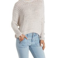 Lt Gray Slouchy Cropped Sweater by Charlotte Russe