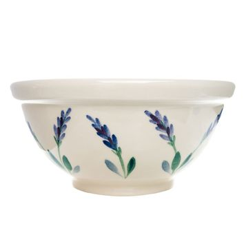 2 Qt. Ceramic Mixing Bowl With Hand Painted Provencal Lavender Design