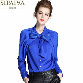 Luxury Silk Blouse Women Bow Collar Silk Blouses Shirt Feminine Office Ladies Elegant Work wear Blouse