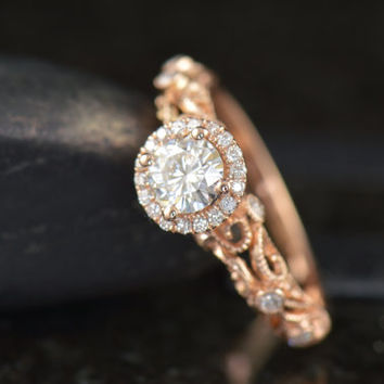 Ashlyn - Moissanite Engagement Ring in Rose Gold, Round Brilliant Cut, Diamond Halo, Filigree with Bezel Set Side Stones, Art Nouveau Style