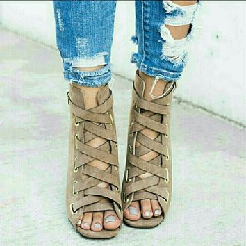 Womens High Heel Sandals Casual Lace-up Open Toe Shoes Solid Color