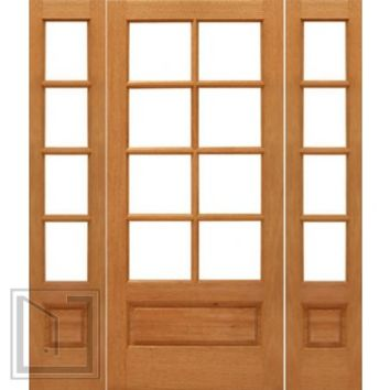 Prehung 8-lite French Brazilian Mahogany Wood 1 Panel IG Glass Sidelights Door