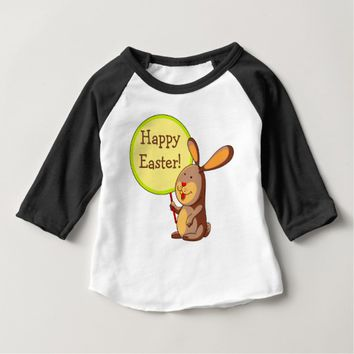 Brown Bunny Holding Board Baby 3/4 Sleeve T-Shirt