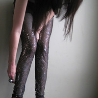 Constellation leggings - sheer black embellished sequin and glitter - medium