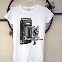 Womens Antique Camera Shirt - Vintage Screen Printed cotton tee