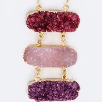 Red-Trible-Druzy-Pendant-Long-Necklace/Earring-Set