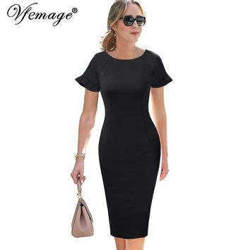 Flutter Sleeves Casual Wear To Work Business Office Pencil Sheath Midi Dress