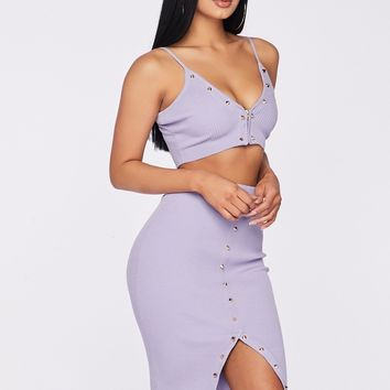 Crazy Sexy Cool Two Piece Midi Skirt Set Lavender