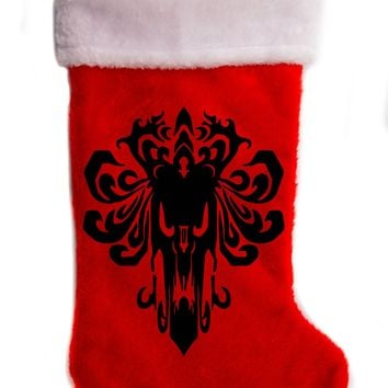 "Haunted Mansion Wallpaper Christmas Holiday Stocking 17"" Red/White Plush Hanging Sock Santa Stuffer Merry Gothmas"