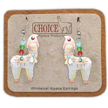 Whimsical Christmas Alpaca Earrings