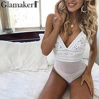 Glamaker Sexy lace transparent mesh white bodysuit Women bodycon deep v neck backless bodysuit Winter ladies elegant body suit