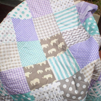 Modern baby quilt,teal,grey,purple,lavender,aqua,patchwork crib quilt,unisex bedding,lap,woodland,organic,elephants,chevrons,-Birch Ellie