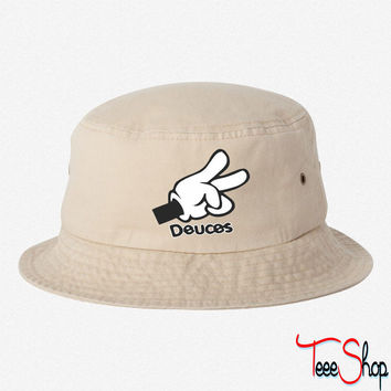 Mickey Mouse Hands Deuces  BUCKET HAT