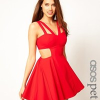 ASOS PETITE Exclusive Skater Dress with Cut Out at asos.com