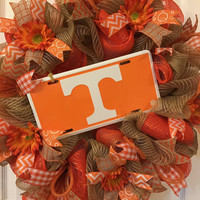 Tennessee Wreath, Tennessee Vols Wreath, Tennessee Vols, Tennessee Vols Gift, Tennessee Vols Fan, Orange Wreath