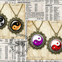 Rainbow of Yin Yang Art - Digital Collage Sheets - 1.5, 1.0 inch Circles for Jewelry Supplies, Pendants, Arts & Crafts Projects