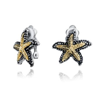 Two Tone Starfish Clip on Earrings Ears Hammered Gold Tone Plate Brass