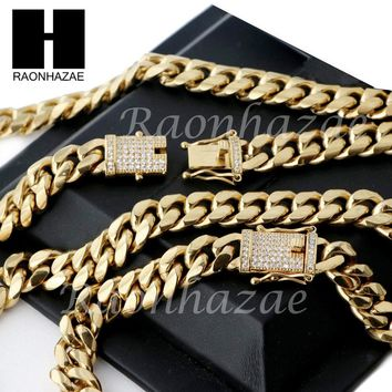 18k Gold Plated 12mm Diamond Clasp Iced Out Miami Cuban Chain & Bracelet Set S01