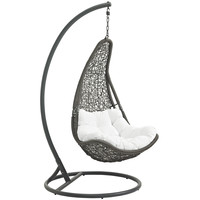 LexMod Abate Outdoor Patio Swing Chair in Gray White