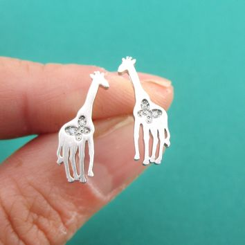 Giraffe Silhouette Shaped Allergy Free Stud Earrings with Butterfly Detail in Silver