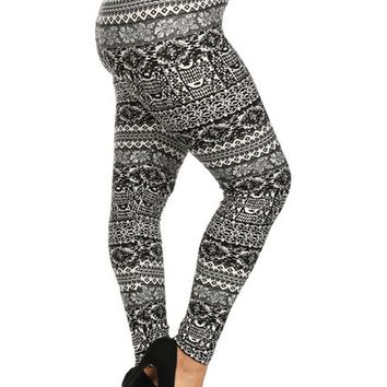 Curvy Printed Legging, Black-Grey