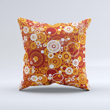 Abstract Vector Gold & White Circle Swirls Ink-Fuzed Decorative Throw Pillow
