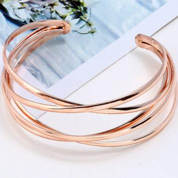 "6.60"" rose gold crossed bracelet bangles upper am cuff  stack .90"" wide"