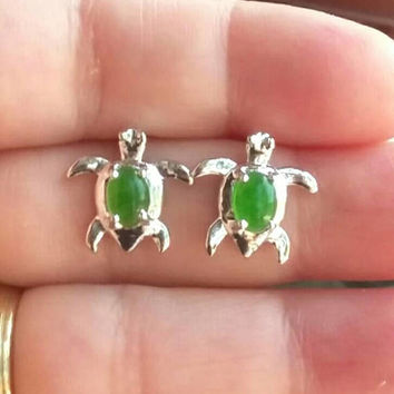 Green Jade Earrings Studs, Silver Turtle Earrings, Green Studs, Silver Studs, Jade Jewelry, Gifts for Her