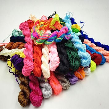 New Arrivals 10 Color Nylon Cord Thread Chinese Knot Macrame Rattail 1mm*25M For DIY Bracelet Braided