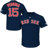 Majestic Dustin Pedroia Boston Red Sox 2013 MLB World Series Champions Name & Number T-Shirt - Navy Blue