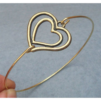 Heart Bangle Bracelet Style 8 by turquoisecity on Etsy
