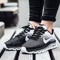NIKE Trending Fashion Casual Sports Shoes AirMax section Black white gradient