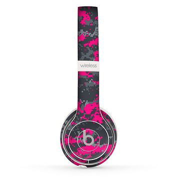 The Bright Pink V2 and Gray Digital Camouflage Skin Set for the Beats by Dre Solo 2 Wireless Headphones