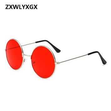 ZXWLYXGX Burst metal circular fashion marine lenses red sunglasses men and women personality Prince Mirror UV400