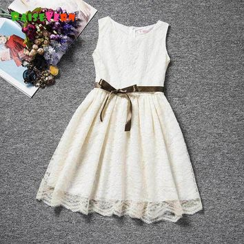 2018 Summer Infant Girls Lace Dresses Kids Sleeveless Princess Party Dress Toddler Girl Clothing Children Casual Clothing